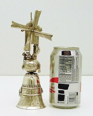 Dutch Solid Silver Marked Wind Whistle Stirrup Cup with Figures On Windmill