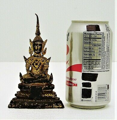 Bronze Thai or Burmese Style Gold Hand Painted Detailing Buddha Statue