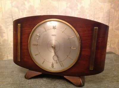 Vintage Metamec Clock Curved Wood And Brass 24x16x9cm For Repair Or Spare Parts