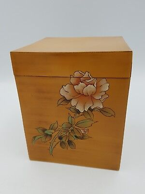 Vintage Chinese Square Bamboo Veneered Lacquered Box Caddy Rose Hand Painted