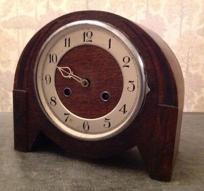 Antique Haller Chiming Mantle Clock Unusual Round Case For Repair 24x22x12cm