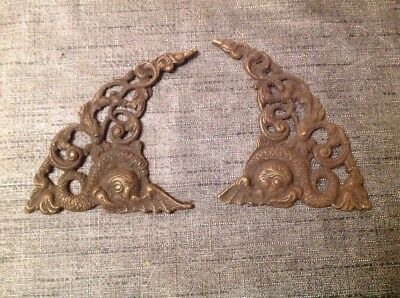 ANTIQUE SPANDRELS LONGCASE GRANDFATHER BRACKET CLOCK PAIR CAST BRASS 130x83mm