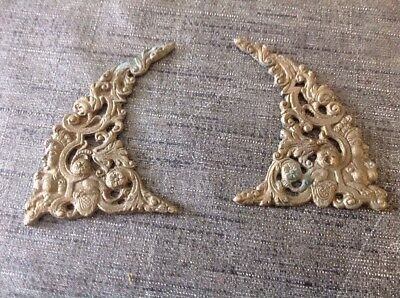ANTIQUE SPANDRELS LONGCASE GRANDFATHER BRACKET CLOCK PAIR CAST BRASS 95x60mm