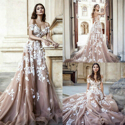 Sexy Champagne Off Shoulder Beach Boho Wedding Dresses Bridal Gowns Sweep Train