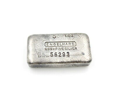Engelhard 5 Troy Ounce 999 + Serial # 56293 Fine Silver Bullion Bar Nr # 5180