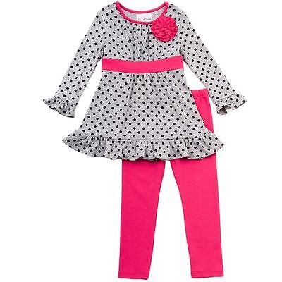 NWT Rare Editions Too Girls Dot Dress & Pink Leggings Set size 4 Gray  VERY CUTE