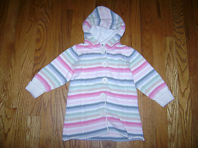baby GAP TODDLER GIRLS KNITTED COAT CARDIGAN SWEATER size 3 3T WHITE PINK CUTE
