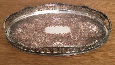 Viners Large Oval Pierced Gallery Butler Serving Tray Silver Plate EP.on Copper