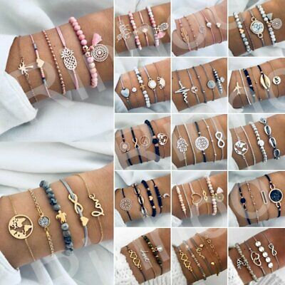 Fashion Women Jewelry Set Rope Natural Stone Crystal Beaded Chain Bracelets Gift
