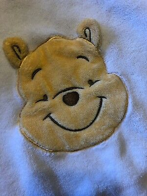 WINNIE THE POOH Disney Baby White 3-D Face Adorable Security BLANKET EUC