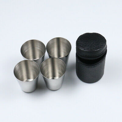 4Pc Portable Stainless Steel Shot Glass Glasses 1 fl oz 30ml Hip Flask Camping