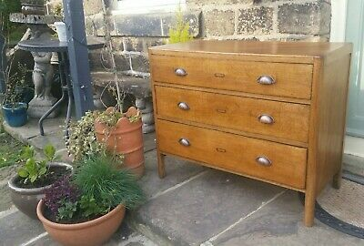 Vintage Plan Chest of 3 drawers School/Industrial Solid Oak Utility Mid Century