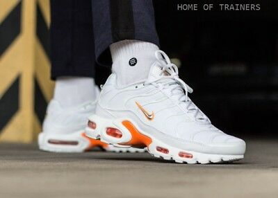 0dd678a00200 Nike Air Max Plus TN Soi Blanc Total Orange Argent Métallique Homme Baskets