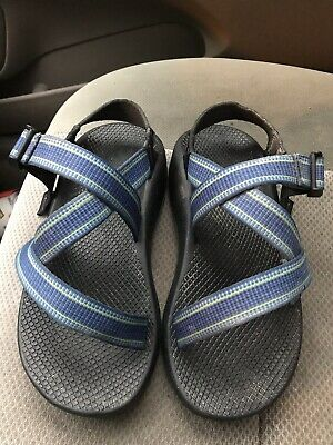 fd9dab37ce0e Men s Chaco Z 1 Unaweep blue   yellow ankle strap toe loop sandals size 7