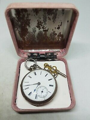 Fancy antique solid silver Chester pocket watch 1886 working ref475