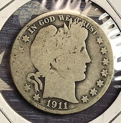 1911 Barber Silver Half Dollar Collector Coin For Your Set Or Collection .
