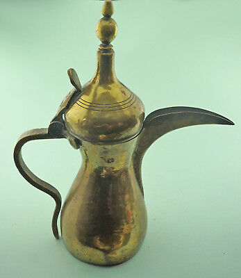Very Large Dallah Coffee Pot, Middle Eastern, Islamic. Signed Salah 15 in. high