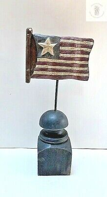 Primitive Painted Resin American Flag On Pedestal Country/Farmhouse Vintage
