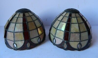 Pair of Antique Leaded Glass Lamp Shades