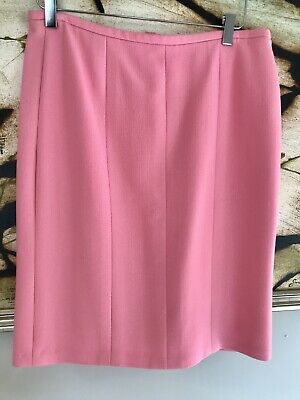 68756312f371a2 CHANEL Authentic Wool Silk Pink Pencil Skirt VINTAGE 40 Logo Lined Small