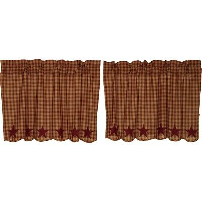 VHC Burgundy Star Tier Curtain (your choice of size)  Farmhouse Country