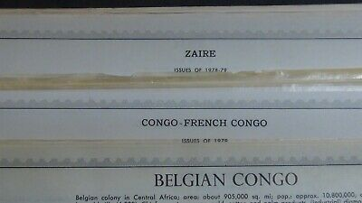Belgian Congo stamp collection on Minkus pages w/ 650 or so stamps to '94 + Zair