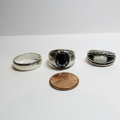 3 PC Lot Solid Sterling Silver Size 10.5 to 11.25 Vintage Mens Rings 25.1 Grams