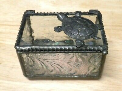 J Devlin Glass Art Stained Glass Turtle Keepsake Treasure Box  New Without Tag
