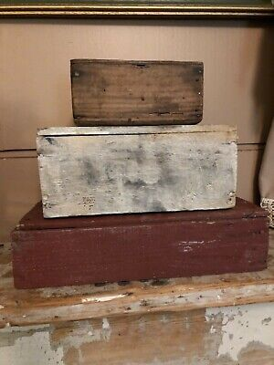 Lot Of 3 Primitive Antique Wooden Boxes