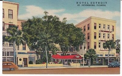 "St. Petersburg  FL ""The Hotel Detroit"" Linen Postcard  Florida  * FREE US SHIP"