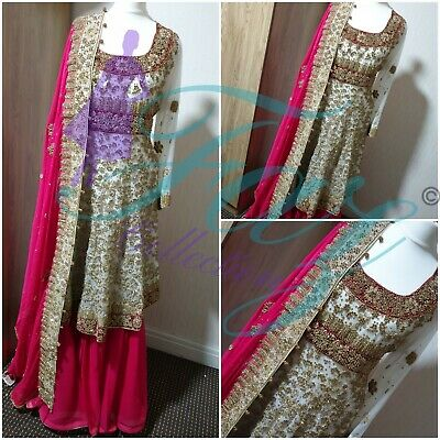 Pakistani Indian peplum stonework gharara, shalwar kameez dress party outfit