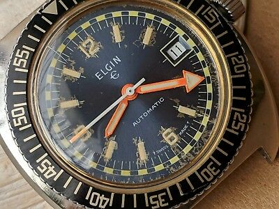 Exotic Vintage Elgin Diver Watch w/Blue Dial,Warm Patina,Large Case,Runs Strong