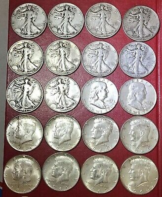 20 Silver Half Dollars 90% Mixed Dates $10 Face Kennedy Franklin Walking Liberty