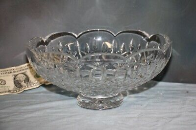 """10"""" Heavy Scallop Footed Bowl Waterford Cut Crystal Kylemore Centerpiece Marked"""