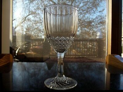 (1) Water Goblet Glass, EAPG Imperial co. Flute and Cane / Huckabee Clear Rare!