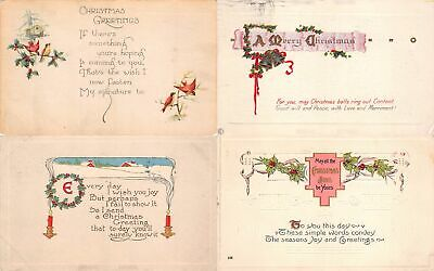 Lot of 15 Early Christmas Greetings & Poems Postcards #138057 R