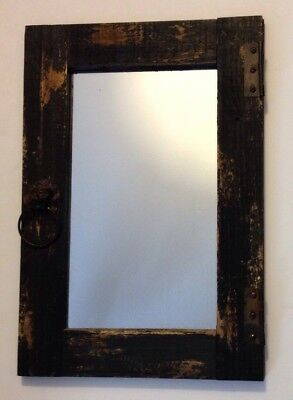 Old Antique Primitive Wooden Window Frame Mirror Rusty Hinges Lion Head Pull