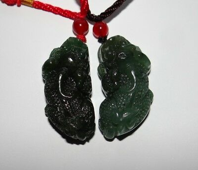 "1.9""China Certified Nature Hetian Nephrite Jade Fortune Pixiu Pair Necklace"
