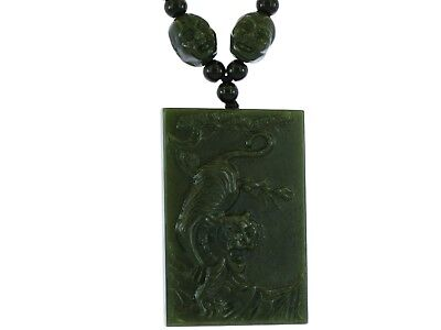 "2.4""China Certified Jewelry Nature Hetian Nephrite Jade Auspicious Tiger Pendant"