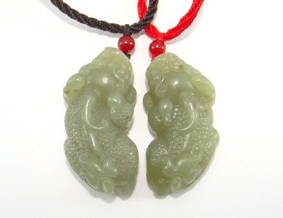"1.9""China Certified Nature Hetian Nephrite Jade Fortune Pixiu Necklace Pendants"