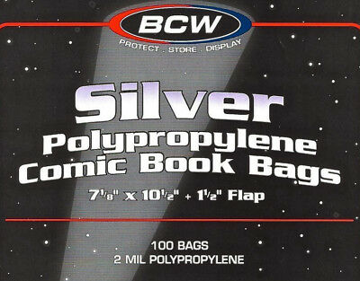 (10) BCW Silver / Regular Age Comic Book Sleeves  2 mil Protection Storage Bags