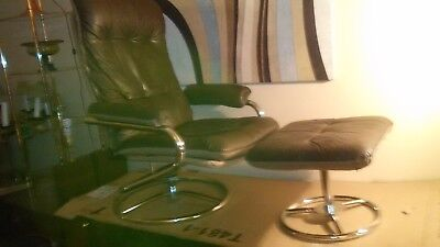 Mid Century Danish Modern Eames Era Chairworks Leather Lounge Chair & Ottoman