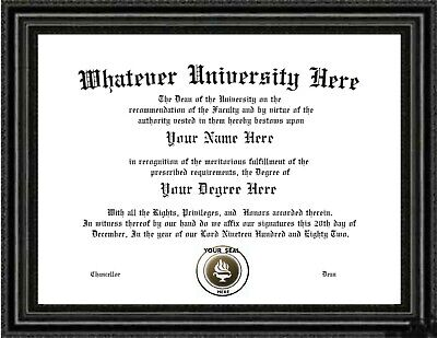 Diploma / Degree Custom made & Designed for you.VERY authentic looking Very Real