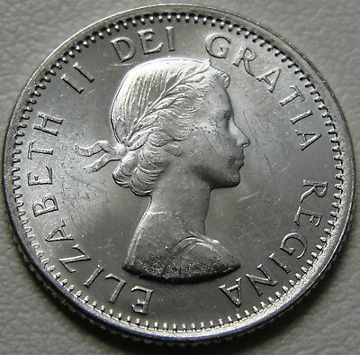 BU UNC Canada 1966 silver dime blue nose 10 cent 10c from bank roll