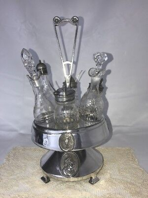 Antique Vtg Edwardian Victorian Glass Cruet Condiment Castor Set Footed 6 Jars