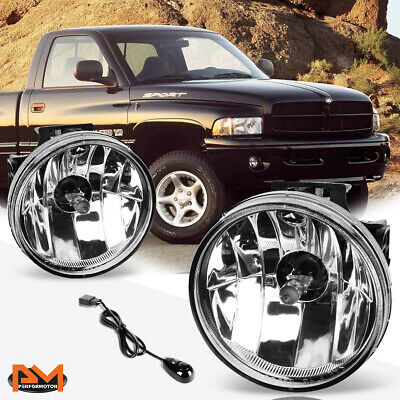 For 99-02 Dodge Ram Pickup Clear Lens Front Bumper Driving Fog Light/Lamp+Switch