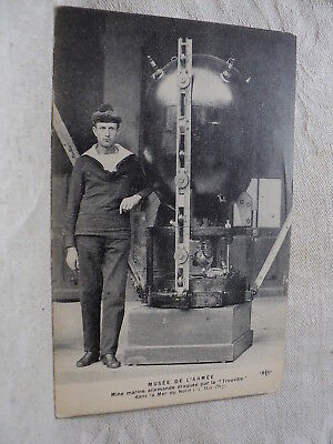 WWI French Sailor Standing by Captured German MINE 1917 Postcard