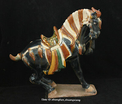 14.4'' Old Chinese Tang SanCai Porcelain Pottery Handmade Animal horse sculpture