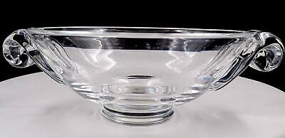 """Steuben Signed Crystal Clear Scroll Handle 9 1/8"""" Footed Bowl"""
