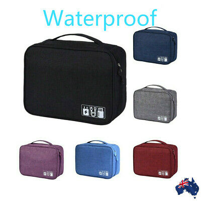 Waterproof Organizer Travel Storage Bag Electronics USB Charger Case Data Cable
